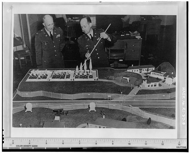 Photocopy of photograph showing model display NIKE Hercules firing battery, ARADCOM Argus pg. 11, from Institute for Military History, Carlisle Barracks, Carlisle, PA, March 1, 1961