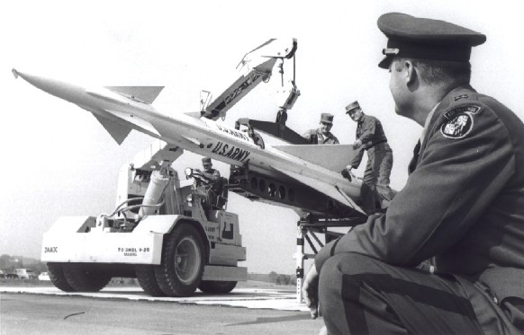 Publicity photo of 3d-70th Artillery personnel with Nike-Ajax, 1960. Note Maryland National Guard shoulder sleeve insignia and