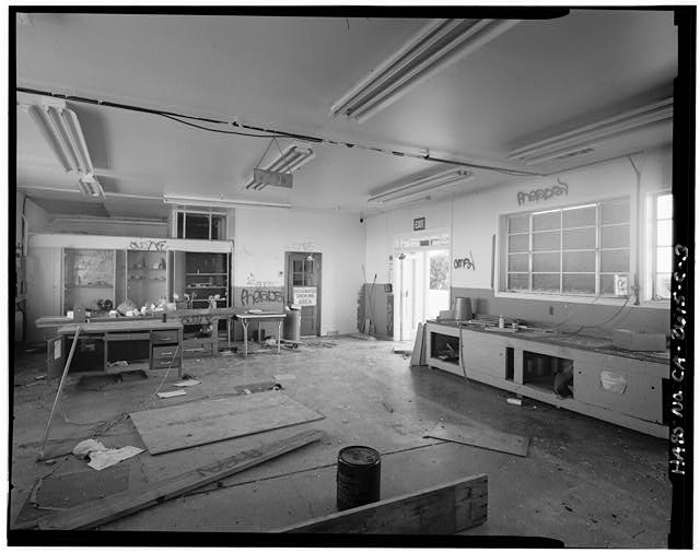 Mill Valley Early Warning Radar Station  INTERIOR VIEW OF MAINTENANCE ROOM OF THE CIVIL ENGINEERING SHOP, BUILDING 103, LOOKING WEST.