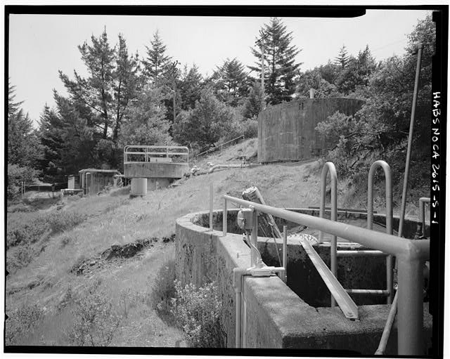 Mill Valley Early Warning Radar Station VIEW OF SEWAGE TANKS AT SEWAGE TREATMENT PLANT, BUILDING 304, LOOKING SOUTHEAST.