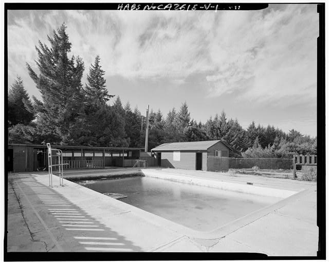 Mill Valley Early Warning Radar Station OBLIQUE VIEW OF THE POOL BUILDING 307 AND THE POOL 308, LOOKING WEST.