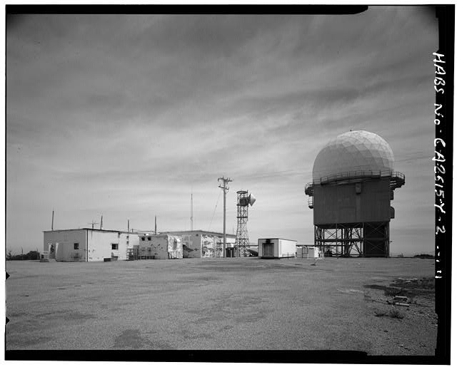 Mill Valley Early Warning Radar Station EXTERIOR SITE VIEW OF STRUCTURE 408 AND RADOME 409 ON RIGHT, LOOKING NORTHEAST.