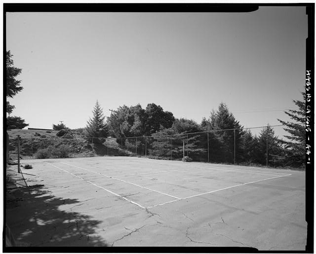 Mill Valley Early Warning Radar Station OBLIQUE VIEW OF THE TENNIS COURTS, BUILDING 436, LOOKING WEST.