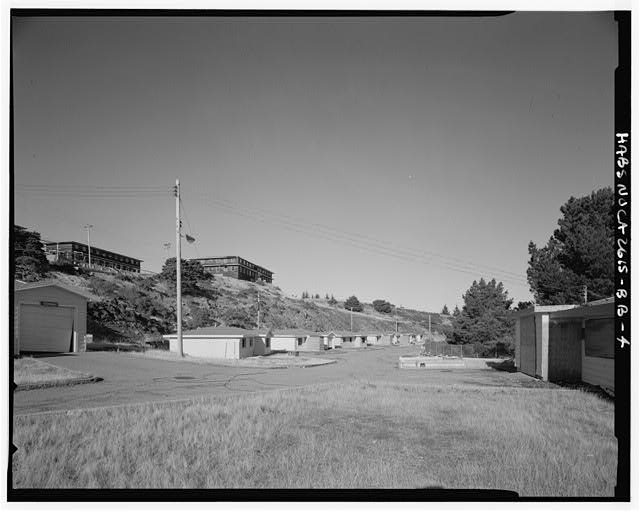 Mill Valley Early Warning Radar Station VIEW OF FAMILY HOUSING,, BUILDINGS 600-608, WITH BACHELOR AIRMEN QUARTERS ABOVE, LOOKING NORTH.