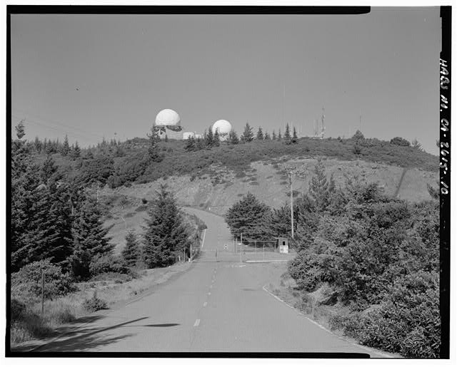 Mill Valley Early Warning Radar Station  CONTEXT VIEW OF RADOMES FROM NEAR THE EXPLOSIVE STORAGE SHED, LOOKING EAST-NORTHEAST.